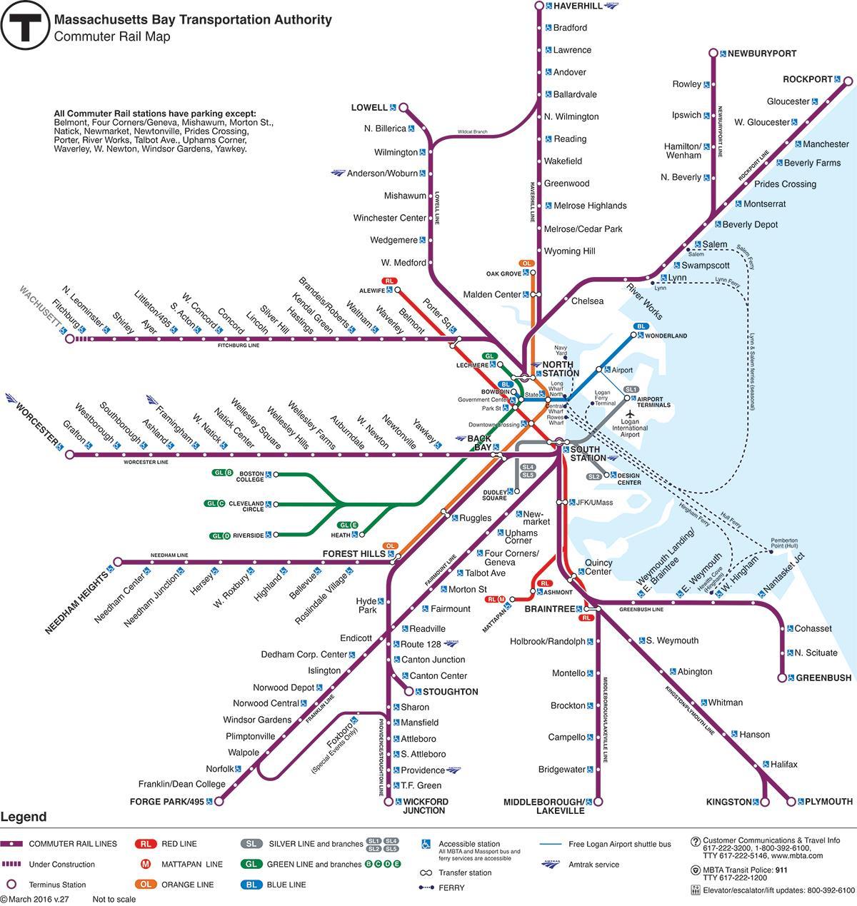 kart tog Boston tog kart   Boston jernbanestasjon kart (Usa) kart tog