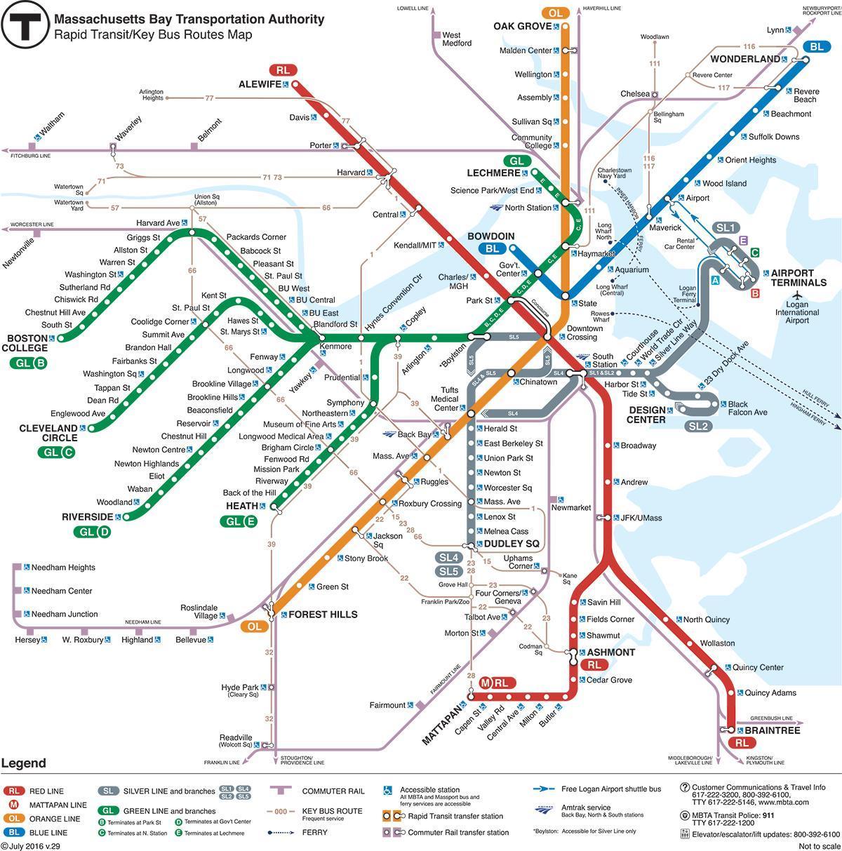 linje på kart Grønn linje MBTA kart   Grønn linje kart Boston (Usa) linje på kart
